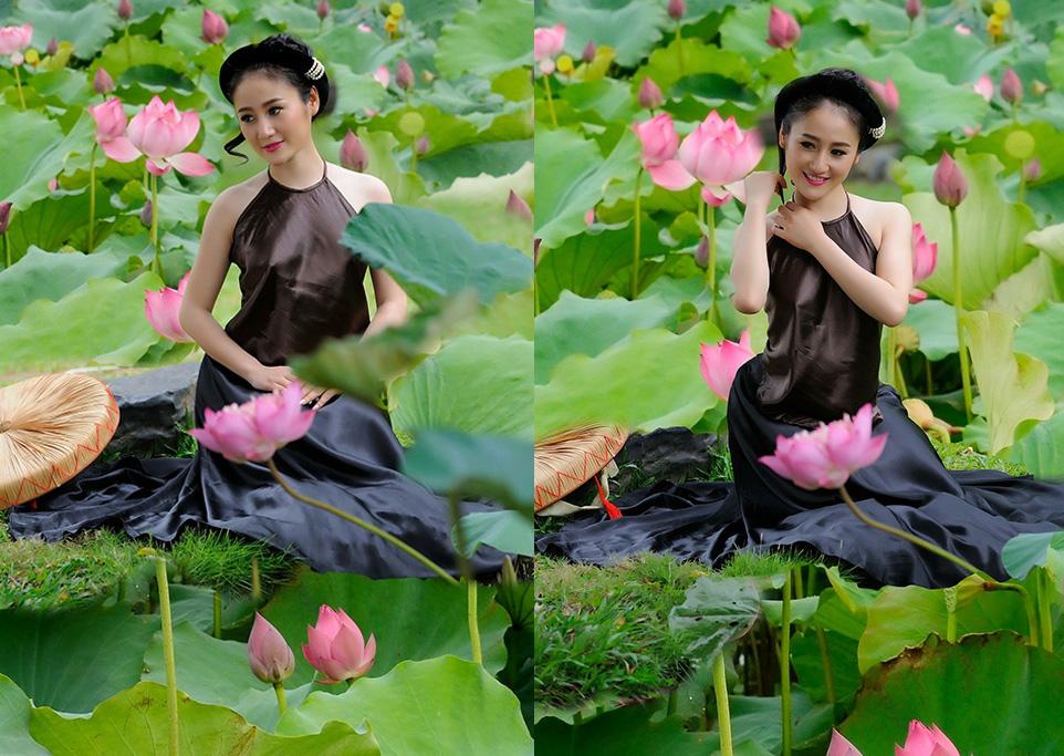 Hoa hậu thân thiện Viên Hoàng Thu đẹp mê hồn với yếm thắm bên hồ sen