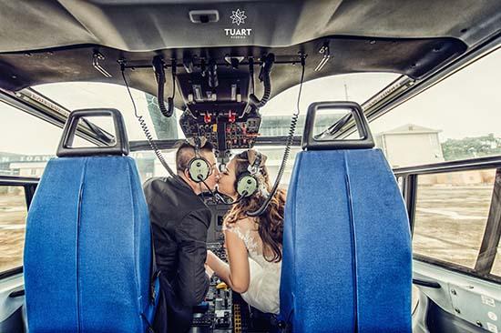 Chết mê bộ ảnh cưới Wang Trần lái trực thăng cầu hôn Thanh Nhân