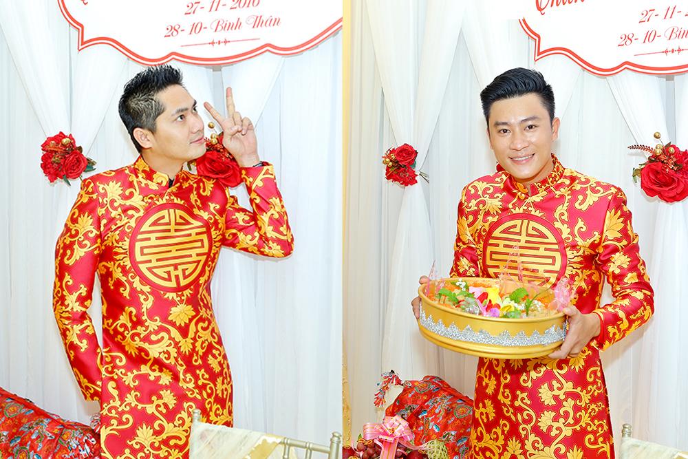 Hai trai đẹp Minh Luân, Đông Dương bưng quả cho Thiên Bảo trong ngày cưới