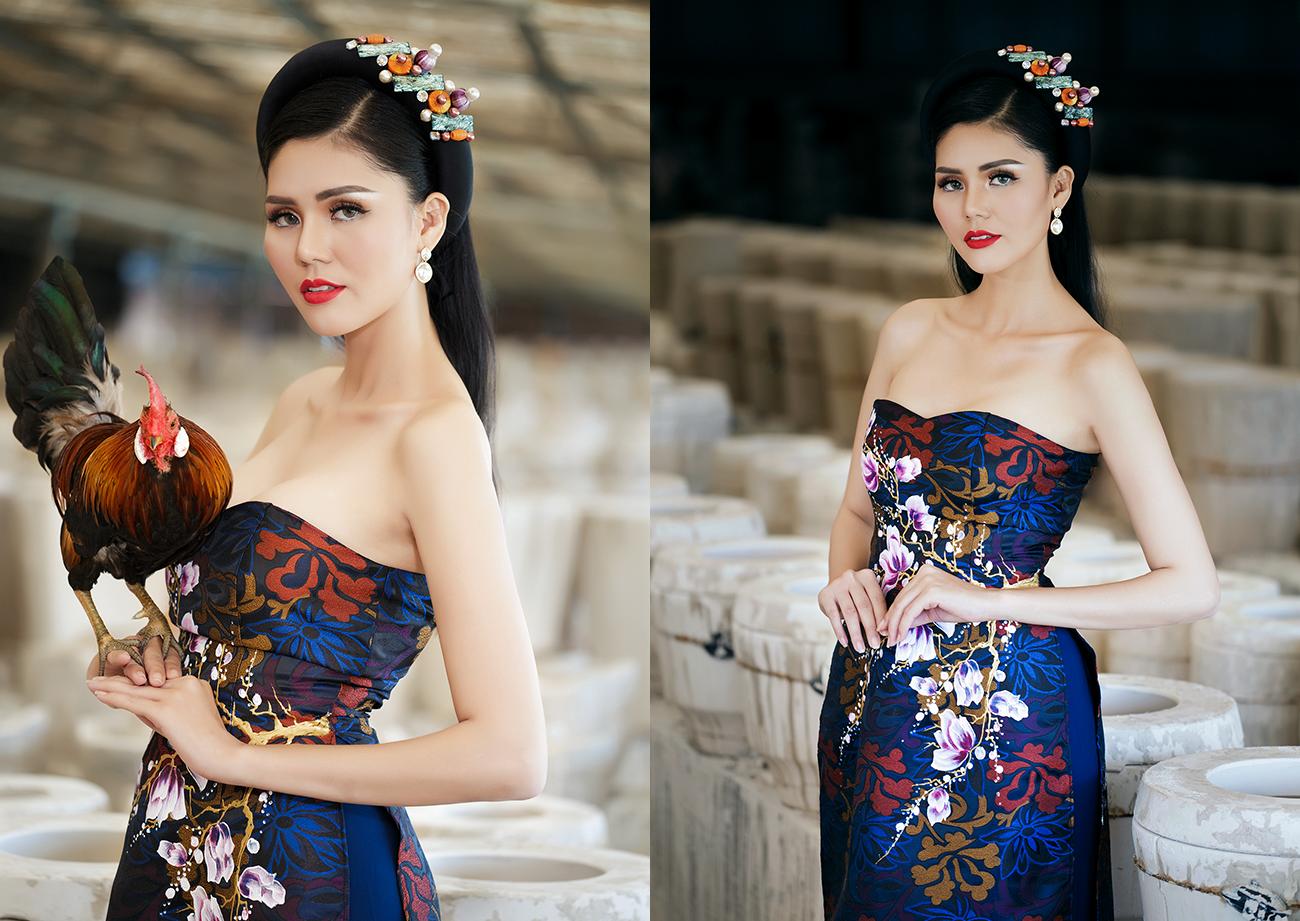 Ảnh đẹp khó cưỡng của Á hậu Kim Nguyên với áo dài Minh Châu
