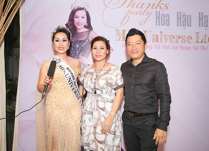 Kinh Quốc hộ tống bà xã dự tiệc tri ân của Hoa hậu Hạnh Lê
