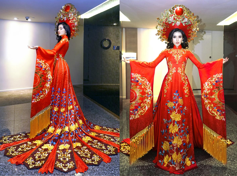 Á hậu Huyền My gây choáng ngợp khi mặc quốc phục áo dài lộng lẫy