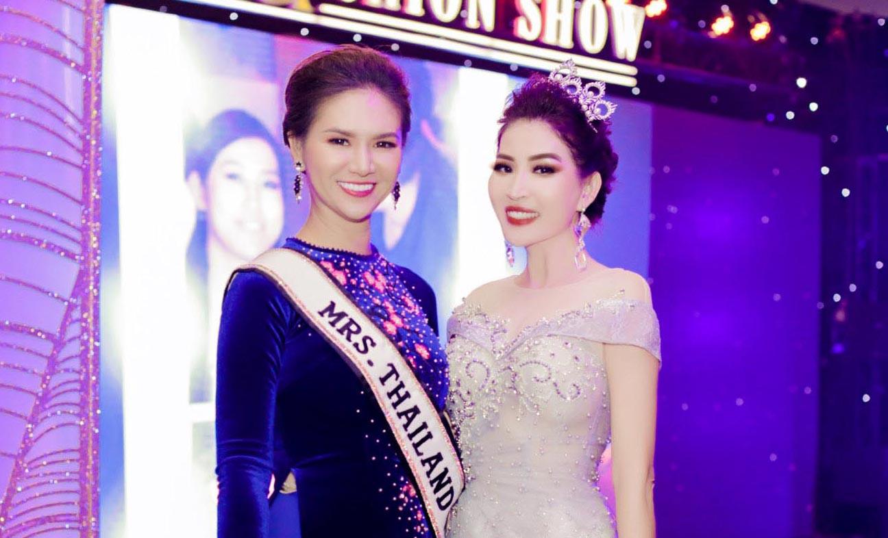 Hoa hậu Quý bà Thái Lan Jeeda Sea Kantarak hội ngộ HH Diễm Kyly tại sự kiện