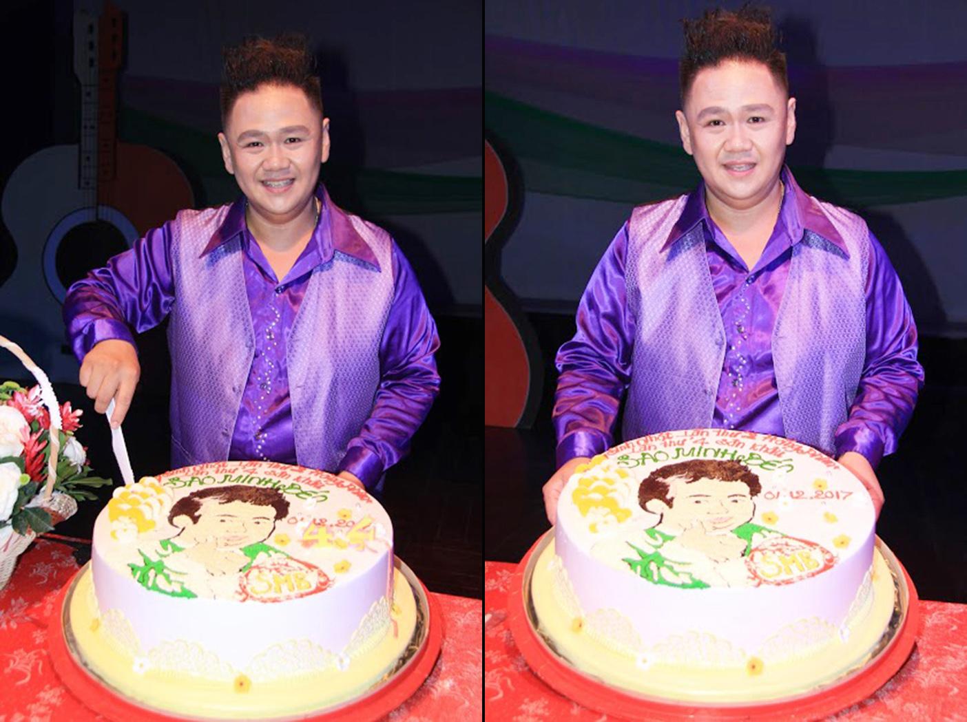 Minh Béo cắt bánh kem mừng sinh nhật sân khấu kịch và hãng phim