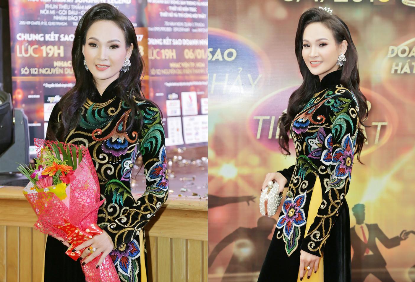 Ngắm Trương Hải Vân đẹp nền nã với áo dài Sĩ Hoàng