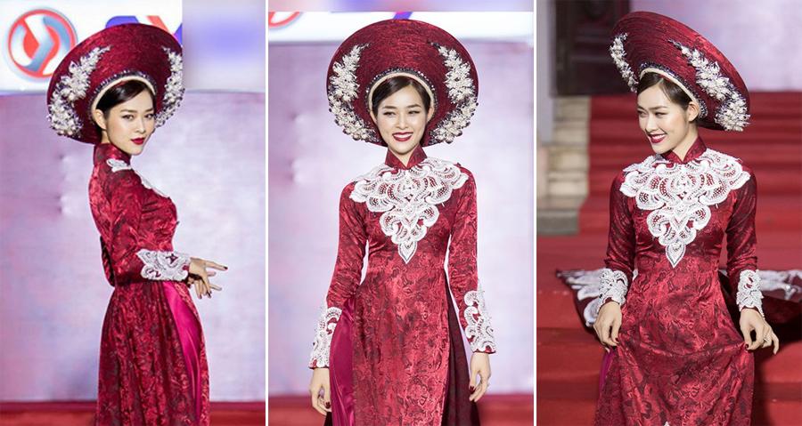 Diệp Bảo Ngọc diện áo dài uy quyền trên sàn diễn thời trang