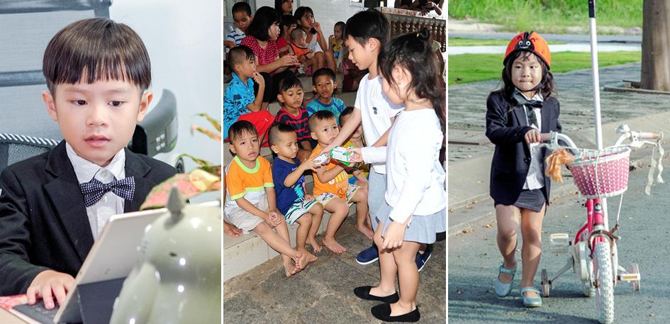 Vợ chồng Lý Hải đưa 4 con nhỏ đi làm từ thiện