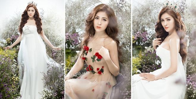 Hoa hậu Thư Dung hóa nàng công chúa trong không gian ngập sắc hoa
