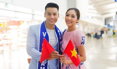Hoa hậu Đặng Thu Thảo tiễn Cao Xuân Tài đi thi Man of The World 2018