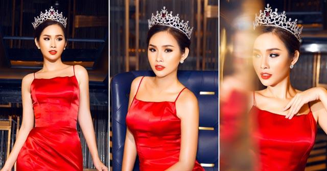 Á hậu Thanh Trang rực rỡ sắc đỏ nhận lời làm giám khảo Hoa Hậu các quốc gia 2018