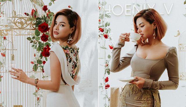 Vũ Thu Phương diện trang phục tự thiết kế khoe dáng trong showroom mới