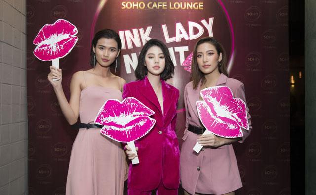 Jolie Nguyễn, Cao Thiên Trang phát cuồng vì không gian tiệc đầy màu hồng của SOHO Lounge.