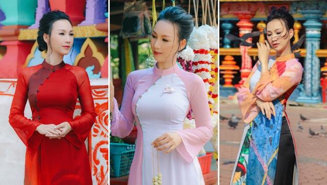 """""""Người đẹp không tuổi"""" diện áo dài nền nã thăm đền Sri Swram ở Malaysia"""
