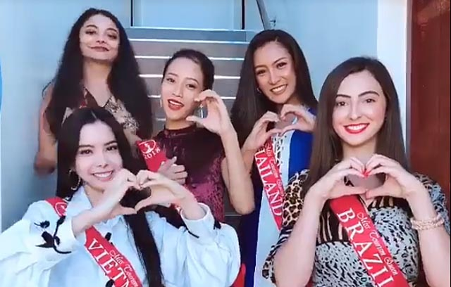 Huỳnh Vy cùng các thí sinh Miss Tourism Queen Worldwide gửi lời chúc ngày Phụ nữ Việt Nam