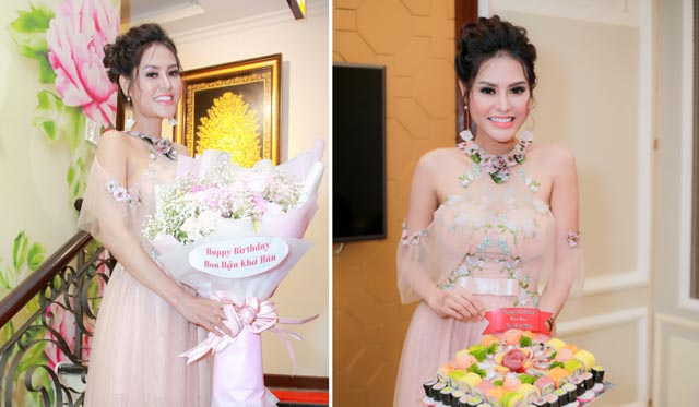 Hoa hậu Dy Khả Hân bất ngờ được bạn bè bí mật tổ chức tiệc sinh nhật