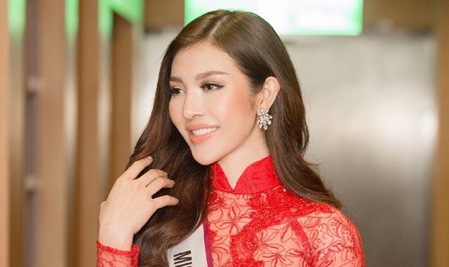 Hoa hậu Thiên Hương duyên dáng, thanh lịch diện áo dài đi sự kiện