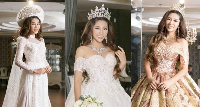 """""""Choáng"""" với lễ phục cưới Hoàng gia cực khủng của Hoa hậu Đại dương Đặng Thu Thảo"""