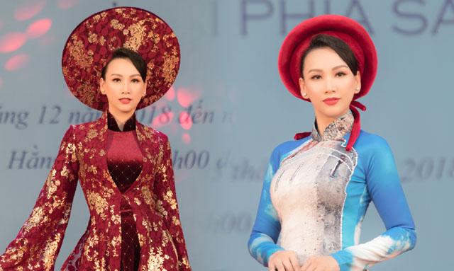 Hoa hậu Paris Vũ trình diễn áo dài ở triển lãm dành cho thương binh và người khuyết tật