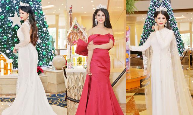 """Nữ hoàng trí tuệ Thạch Hoa diện váy đỏ """"ngất trời"""" đón Noel chào năm mới"""