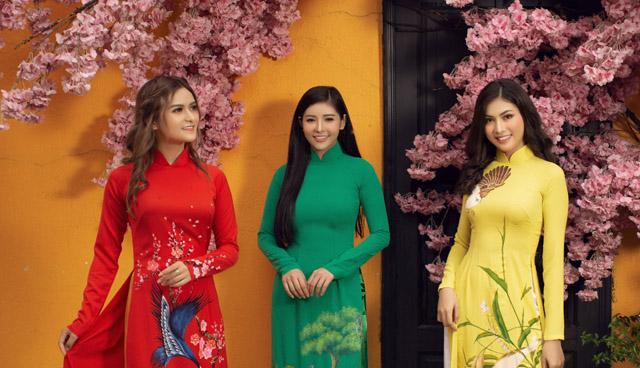 Á hậu Hoàng Dung dịu dàng trong áo dài Xuân