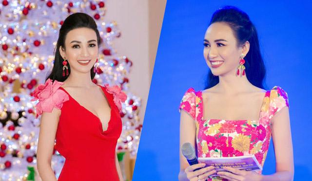 Ngọc Diễm thay hai váy nữ tính khi dẫn sự kiện