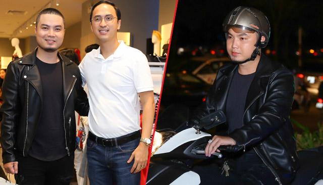 Đức Vincie chạy xe máy đến dự sự kiện thời trang
