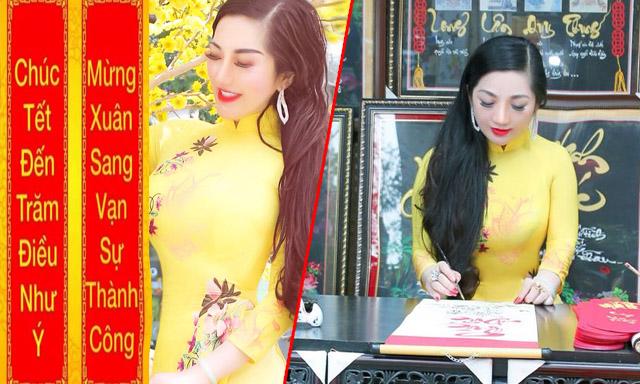 Hoa hậu doanh nhân Trương Mỹ Duyên thướt tha áo dài dạo phố Xuân 2019