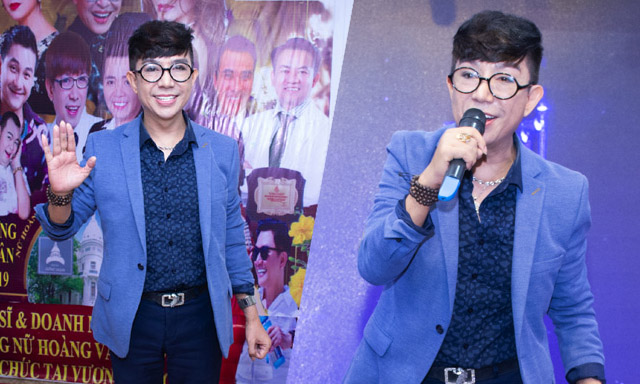 """Ca sĩ Long Nhật lên sân khấu hát tặng """"Nghệ sỹ và doanh nhân"""" trong sự kiện cuối năm"""