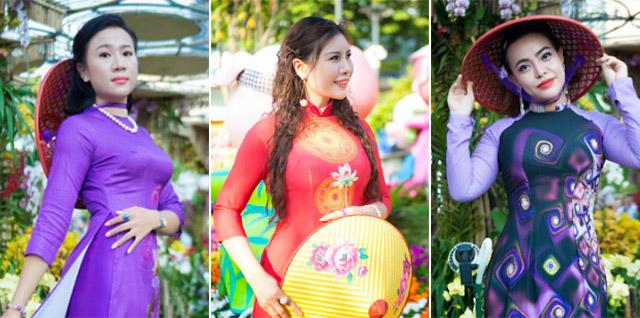Nữ doanh nhân Lê Phạm, Mỹ Hằng, Lưu Bích Nga duyên dáng áo dài du xuân