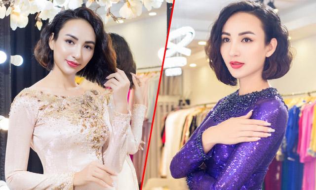 Ngọc Diễm cùng con gái thử áo dài để dự sự kiện thời trang