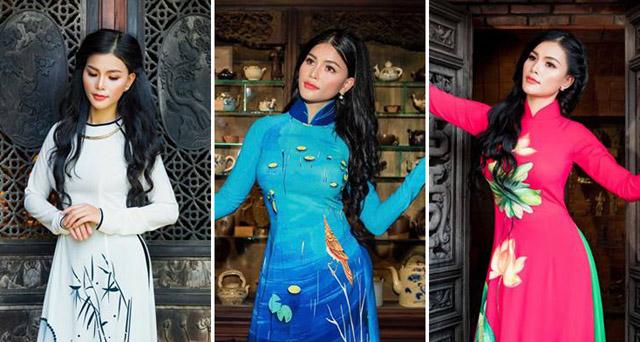 Người đẹp Quỳnh Pinky nền nã trong thiết kế áo dài Tommy Nguyễn