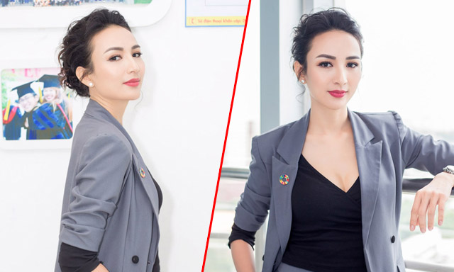 """Ngọc Diễm mặc """"chuẩn man"""" làm giám khảo cuộc thi sinh viên"""