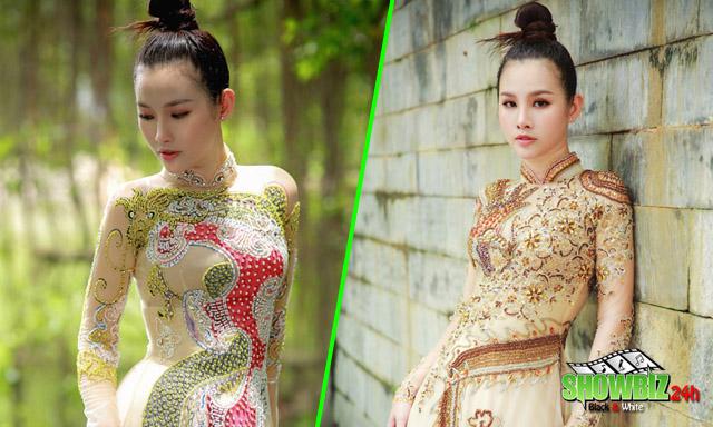 Á hậu Thanh Trang đẹp xuất sắc khi diện áo dài rồng phượng của NTK Tommy Nguyễn