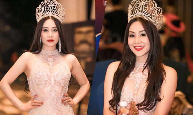 Hoa hậu Vũ Loan ngồi ghế nóng cuộc thi nhan sắc Hoa hậu Doanh nhân Hoàn cầu 2019