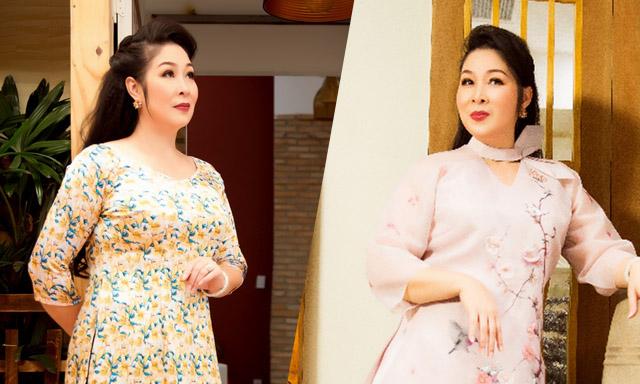 Nghệ sĩ Hồng Vân làm mẫu áo dài dành cho tuổi trung niên