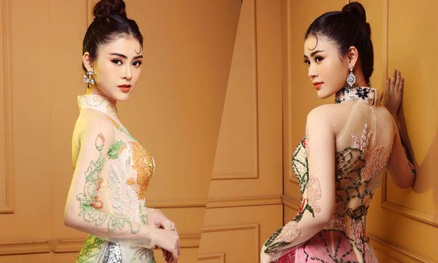 Á hậu Lý Kim Thảo sắc sảo khi diện áo dài đính kết thủ công