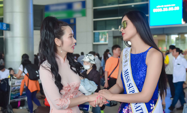 "Hoa hậu Vivian Trần ""hội ngộ"" hoa hậu Siêu quốc gia 2013 Mutya Johanna Datul tại sân bay"