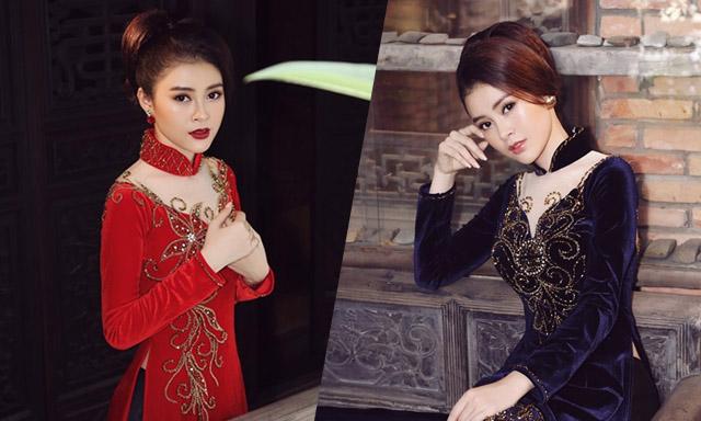 Á hậu Lý Kim Thảo kiêu sa, quyền quý với áo dài nhung của NTK Tommy Nguyễn