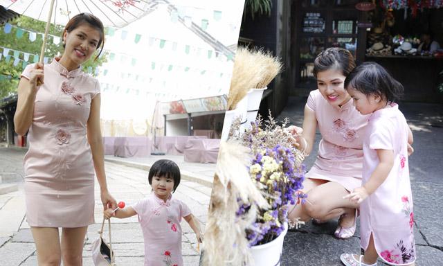 Nữ hoàng Maria Hồ Oanh Yến cùng con gái tung tăng dạo phố Thượng Hải