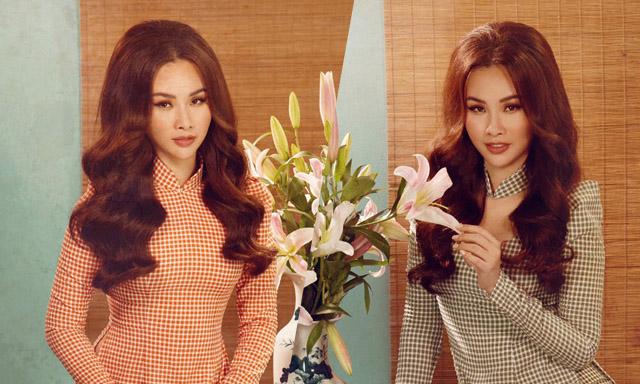 Á hậu Thanh Trang xinh đẹp, làm mẫu áo dài họa tiết caro cho NTK Tommy Nguyễn
