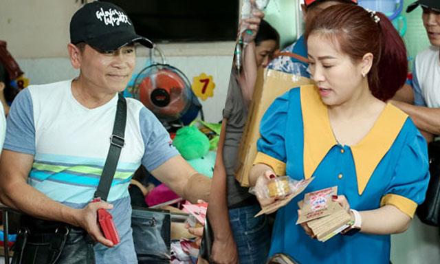 Vợ chồng Kiều Linh - Mai Sơn phát quà từ thiện cho bệnh nhân