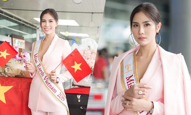 Vừa được cấp phép, Hoàng Hạnh rạng rỡ lên đường thi Miss Earth 2019