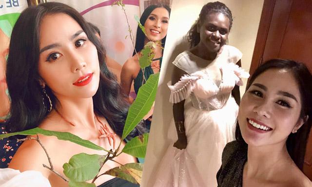 Hoàng Hạnh tặng giỏ xách, mũ cho hai đại diện da màu khó khăn tại Miss Earth 2019