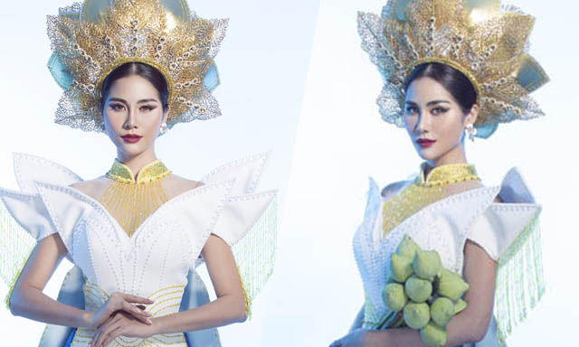 """Hoàng Hạnh mang cả hồ sen lên quốc phục """"Liên chiến hoa"""" tại Miss Earth 2019"""