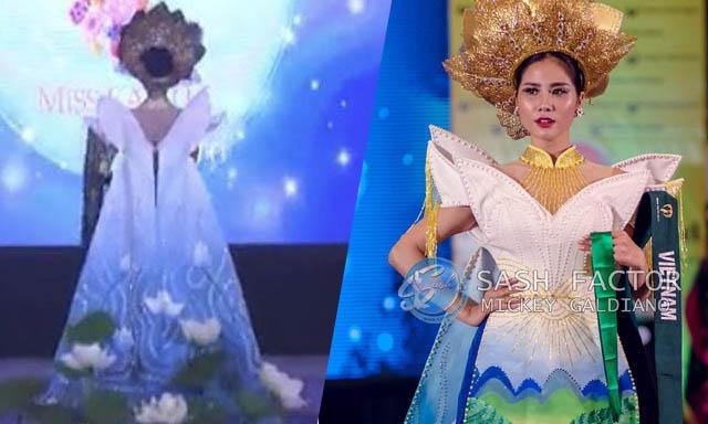 """Á hậu Hoàng Hạnh giành huy chương đồng với quốc phục """"Liên chiến hoa"""" tại Miss Earth"""