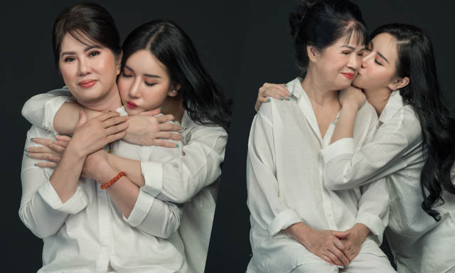 Người đẹp Quỳnh Anh gây bất ngờ khi khoe hình chụp cùng mẹ và ngoại