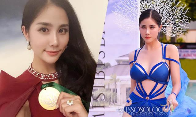 """Hoàng Hạnh diện thiết kế """"Nữ thần biển cả"""" ẵm huy chương vàng tại Hoa hậu Trái Đất 2019"""