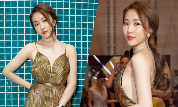 Diễn viên Huỳnh Hồng Loan diện đầm vàng sexy dự event