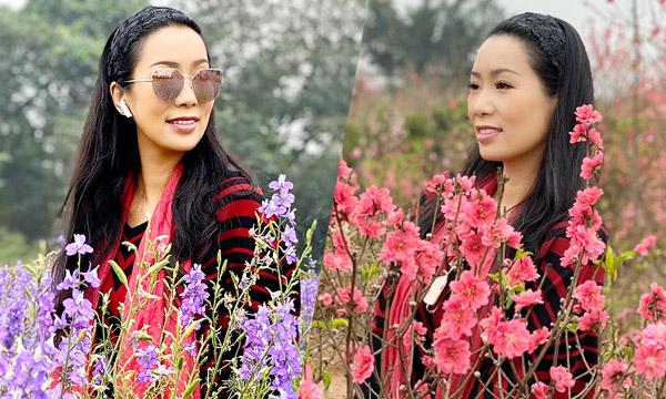 NSƯT Trịnh Kim Chi dạo chơi thủ đô ngắm cảnh hoa đào, hoa cúc mùa xuân