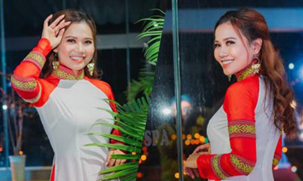 Hoa hậu Nguyễn Ngọc Xuân Mai gây ấn tượng khi diện áo dài thổ cẩm